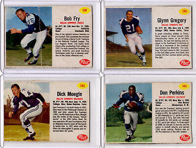 SET OF FOUR - 1962 POST Dallas Cowboys Football Cards