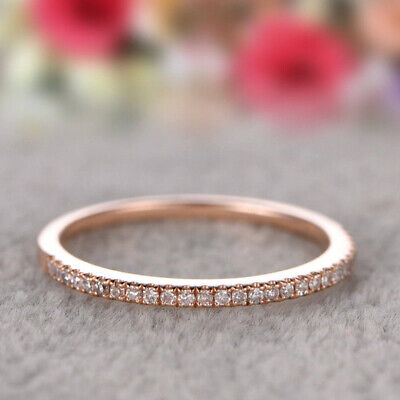 Fashion 925 Silver Stackable Eternity Rose Gold Plated Wedding Promise Rings