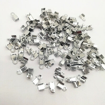 200Pcs 2x6mm Small Cord End Tip Fold Over Clasp Crimp Bead Connector Accessory D