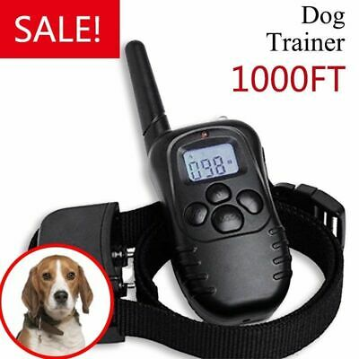 LCD Remote Rechargeable Petrainer Electric Dog Training Collar Shock 1000Feet