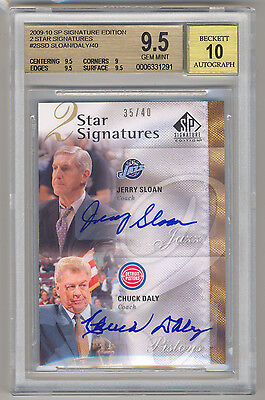 2009-10 SP Signature Edition CHUCK DALY & JERRY SLOAN /40 BGS 9.5/10 POP 1/1 RIP