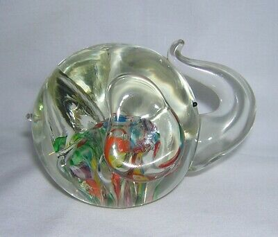 Lenwile Ardalt Japan Art Glass Millefiori Elephant Paperweight Hand Blown, Label