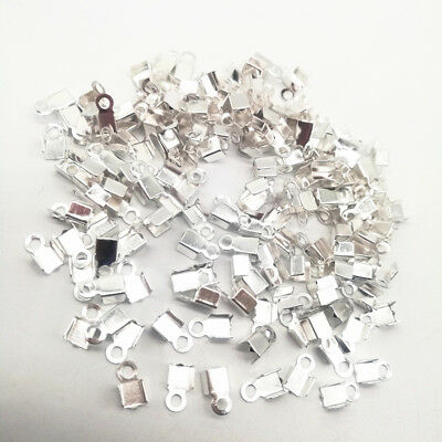 200Pcs 2x6mm Small Cord End Tip Fold Over Clasp Crimp Bead Connector Accessory B