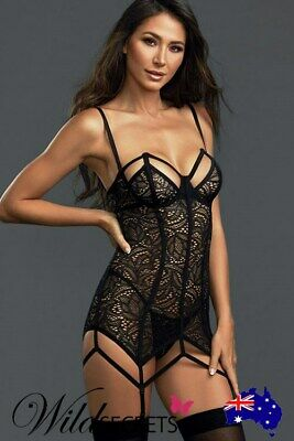 NEW Dreamgirl All Night Long Gartered Bodystocking Chemise with Thong