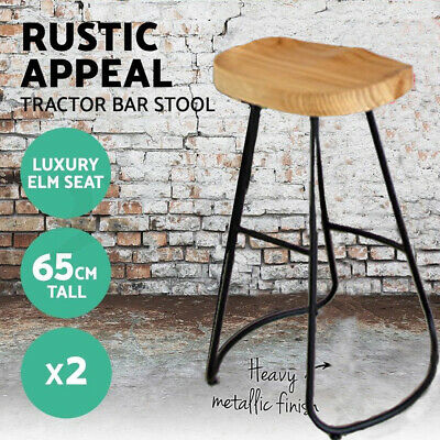 2x Vintage Tractor Bar Stool Retro Industrial Dining Solid Pine Wood Chair 65cm