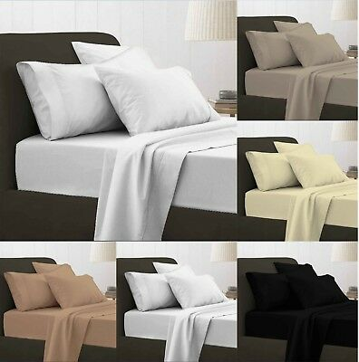 Luxury 100% Egyptian Cotton Fitted Sheets Flat Sheet 200TC Single Double S King