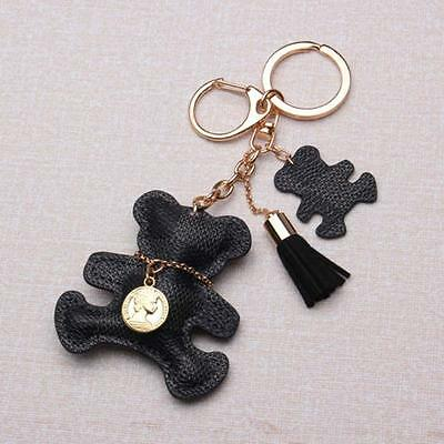Womens Purse Handbag Key Phone Chain Leather Cute Bear Tassel Style Keyring し.