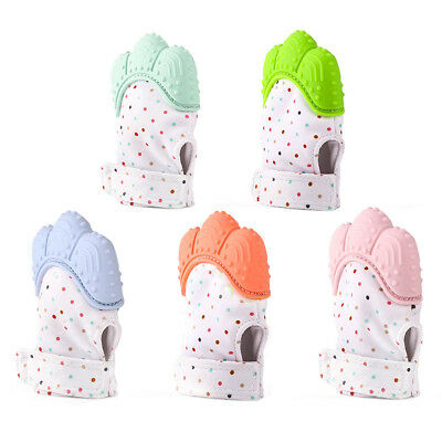 Baby Silicone Mitts Teething Mitten Glove Candy Wrapper Sound Teether Toy YNT6