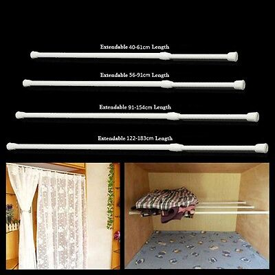 Telescopic Net Voile Tension Curtain Rail Pole Rod Rods Spring Loaded Extendable