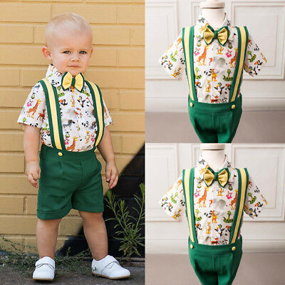 Toddler Kids Baby Boy Formal T-shirt Top Overalls Short Pants Outfits Clothes AU
