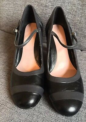 2faad6afbea M S Ladies Shoes 5.5 Mary Janes High Heels Smart Work Occasion Grey Black  EUC