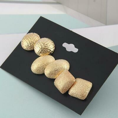 3 Pairs Elegant-Womens Gold Plated Ear Stud Earrings Party-Wedding Jewelry Gift