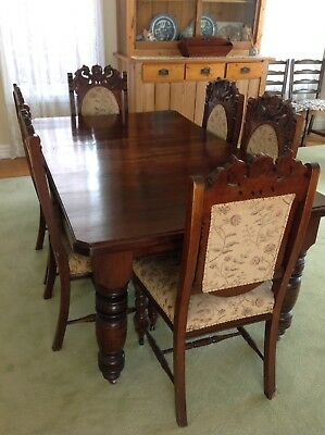 Vintage Edwardian Extension Table with 6 Chairs Pick Up Williamstown 3016