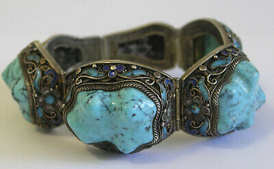 Antique / Vintage Chinese Export Silver Enamel Bracelet with Turquoise Stones