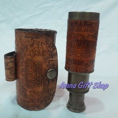 Brass Telescope With Leather Box Vintage Antique Gift Item