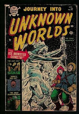 Atlas Marvel horror Journey into unknown worlds VG- 3.5 17 Golden 1953 pre code