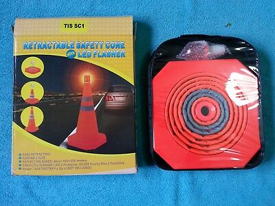 TIS, Retractable Safety Cone with LED Flasher, Portable size, code TIS SC1