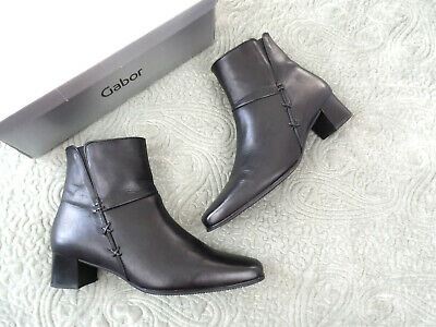 7f3d8b5208f GABOR WOMENS SIZE 7 UK Bassanio Black Leather Ankle Boots Boxed Block Heel