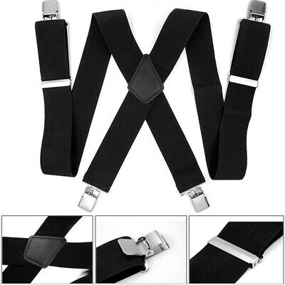 "2"" 50mm Wide Mens X-Back X Shape Heavy Duty Trousers Black Brace Suspenders Q8G5"