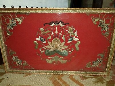 Antique Oriental Embroidery Gold Thread On Red Felt Framed