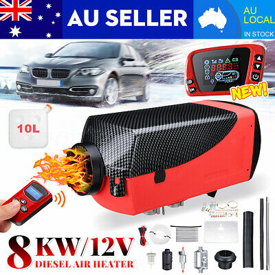 AU Diesel Air Heater 12V 8KW NEW LCD Thermostat 4-Key Remote Control For Caravan