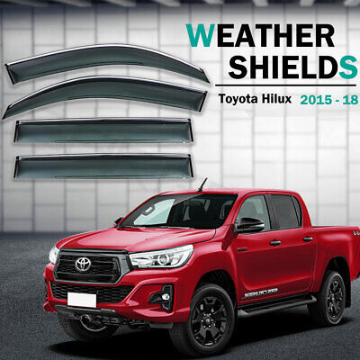 Weather shields Window Visors weathershields Toyota Hilux Dual Cab 2015 - 2018