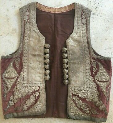 ANTIQUE OTTOMAN TURKISH HAND EMBROIDERED CREME AND RED VEST JACKET44 x 41CM