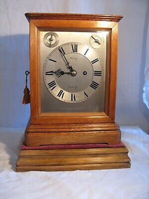 Antique oak cased striking fusse bracket clock