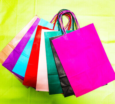 10x Medium Twisted Handle Luxury Bags Kraft Gift Bag Paper Party Bags wrapping