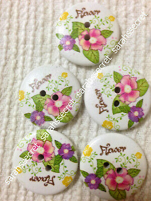 5 x LARGE WOODEN BUTTONS with FLOLOGY FLOWER DESIGN - 30mm  - #B346