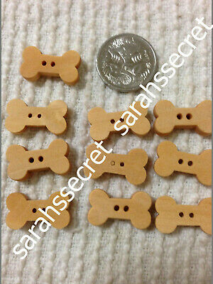 10 x WOODEN BUTTONS with DOG BONE DESIGN - 18mm  - #B291