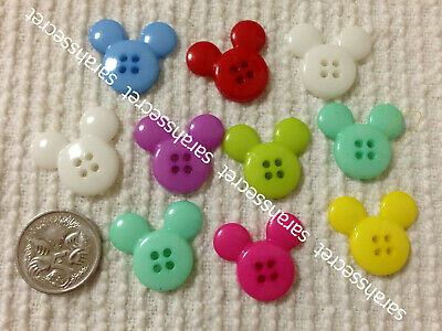 10 x PLASTIC BUTTONS with BIG MICKEY MOUSE - 22mm  - #B536