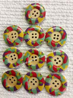 10 x MULTI COLOURED MOZAIC WOODEN BUTTONS - 25mm - #B966
