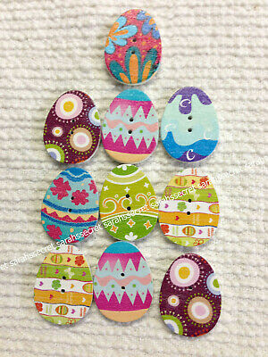 10 x MULTI COLOURED EASTER EGGS WOODEN BUTTONS - 30mm - #B967