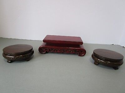 Asian Carved Wood Display Stands wire inlay on 2