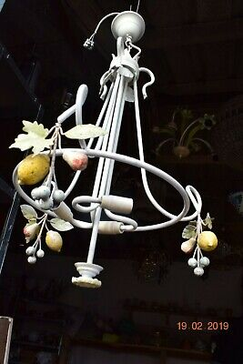 OLD  FRENCH TOLE WARE FRUIT  CHANDELIER   24 ins drop