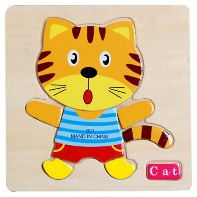 Cat Wooden Puzzle Jigsaw Early Learning Kids Pre-school Educational Toys
