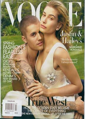 Justin Bieber Hailey Baldwin Gigi Kendall Us Vogue Magazine March 2019