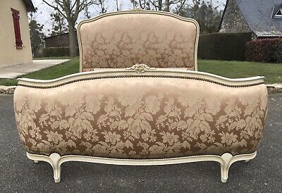 Vintage French Demi Corbeille Upholstered Double Bed Frame Louis XV Style