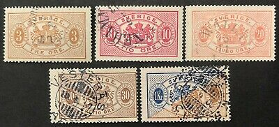 Sweden 1881 group of 5 stamps used