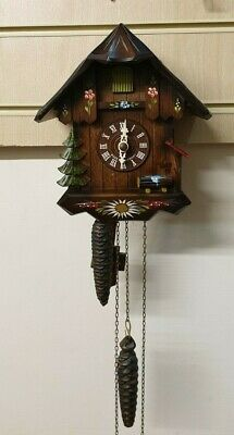 Vintage Carved Wood Weight Driven Chalet Style 30 hour Cuckoo Clock