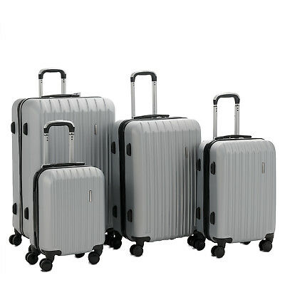 "4PCS  16"" 20"" 24"" 28"" Luggage Travel Set ABS Spinner Bag Suitcase w/ Lock Silver"