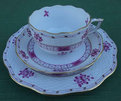 Herend Pink Garden Design Trio, Teacup Saucer and Plate