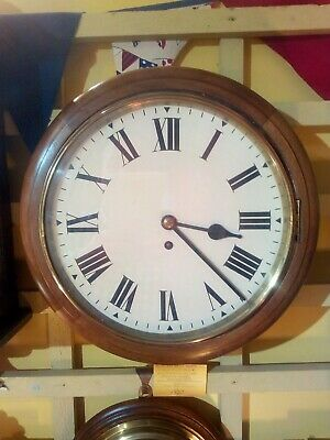 Antique school / station clock, eight day Fusee movement , serviced