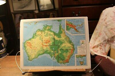 "Vintage 1956 Map of Australia Mounted on Foam Core Board 10"" x 13"""