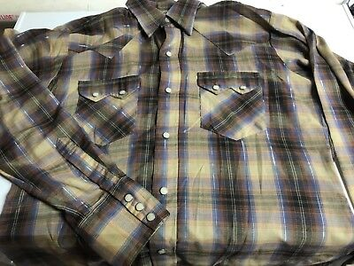 VTG 80s DC Dee Cee Brand Western Long Sleeve Pearl Snap Shirt Made in USA Plaid