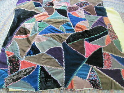 Antique small size unfinished velvet crazy quilt feather stitched