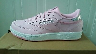 b6c574e8530d9f Reebok Classic Junior Girls Women White Pink UK4 EU36 Leather Trainers Shoes  New