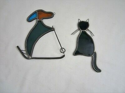 Vintage Leaded Stained Glass Window Art DOG Skiing CAT Suncatcher Ornaments