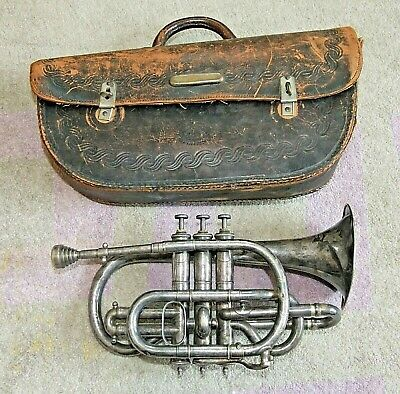1890s Antique OLIVER DITSON New Century Boston Silver CORNET with LEATHER CASE